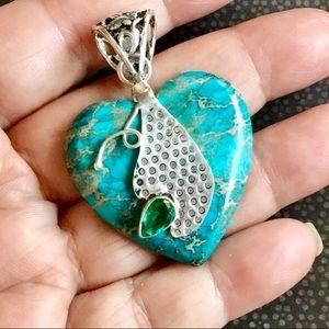 Turquoise Sea Sediment Jasper Gemstone Pendant